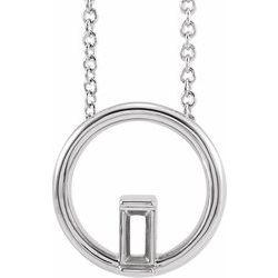 87334 / Neosadený / Straight Baguette / Pendant / Continuum Sterling Silver / 11.75 X 11.9 Mm / Polished / Circle Baguette Pendant Mounting
