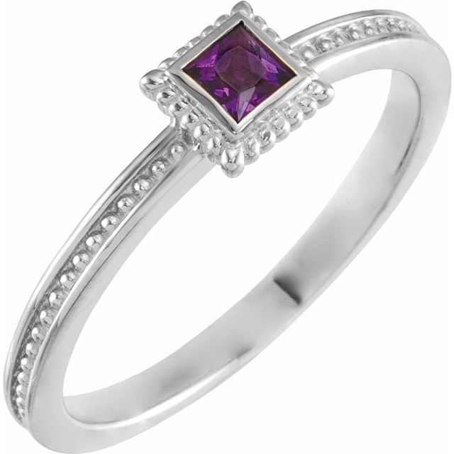 14K White Amethyst Stackable Family Ring