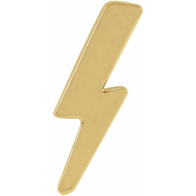 14K Yellow Tiny Lightning Bolt Left Earring