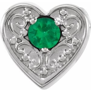 14K White Emerald Family Heart Slide Pendant