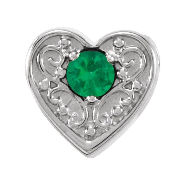 14K White Emerald Family Heart Slide Pendant