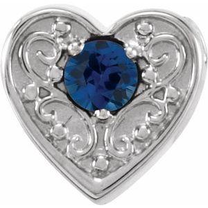 14K White Blue Sapphire Family Heart Slide Pendant