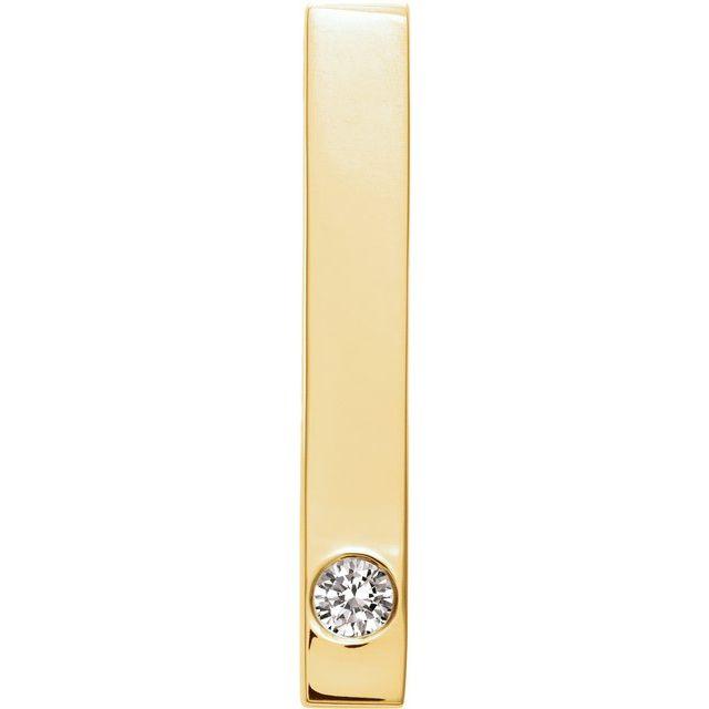 14K Yellow .06 CTW Diamond Family Engravable Bar Slide Pendant