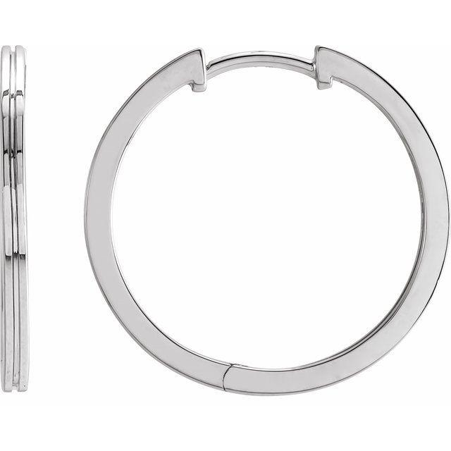 14K White 20 mm  Grooved Hoop Earrings