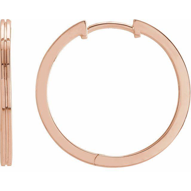 14K Rose 20 mm  Grooved Hoop Earrings