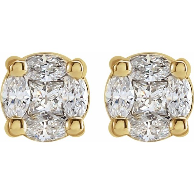 14K Yellow 1/3 CTW Diamond Cluster Earrings