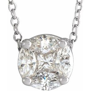 "14K White 1/3 CTW Diamond Cluster 16-18"" Necklace"
