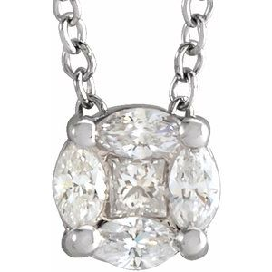 "14K White 1/6 CTW Diamond Cluster 16-18"" Necklace"