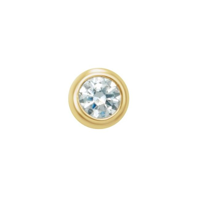 14K Yellow .03 CT Natural Diamond Micro Bezel Single Stud Earring