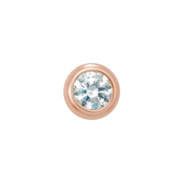 14K Rose .03 CT Diamond Micro Stud Single Earring
