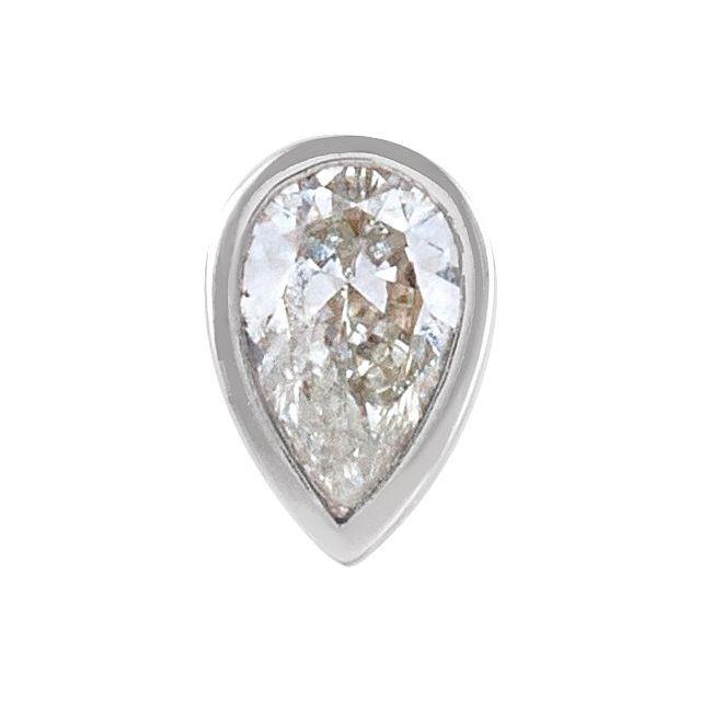 14K White 1/10 CT Diamond Micro Bezel-Set Single Earring