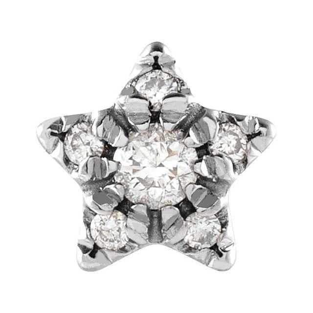 14K White .05 CTW Diamond Star Single Earring