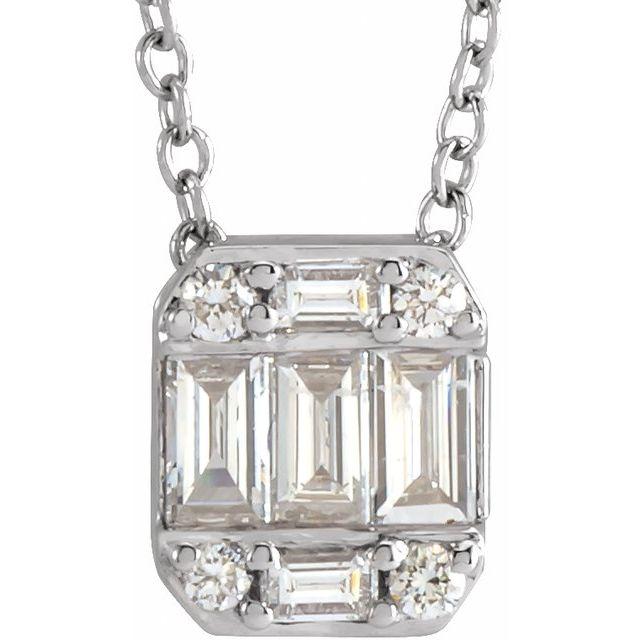 14K White 1/3 CTW Diamond Cluster Necklace