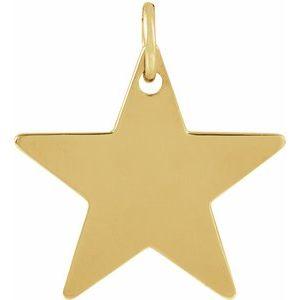 14K Yellow 12x12 mm Engravable Star Pendant