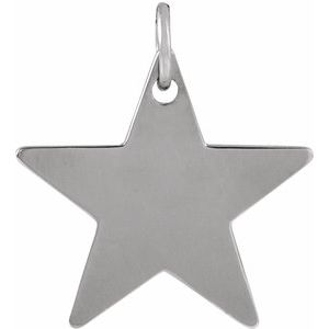Sterling Silver 18x18 mm Engravable Star Pendant