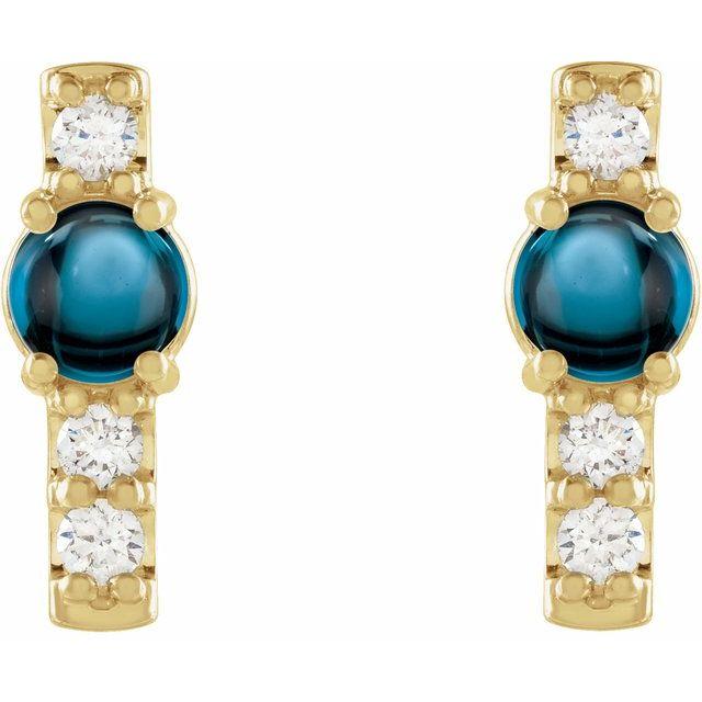 14K Yellow London Blue Topaz & 1/5 CTW Diamond Bar Earrings