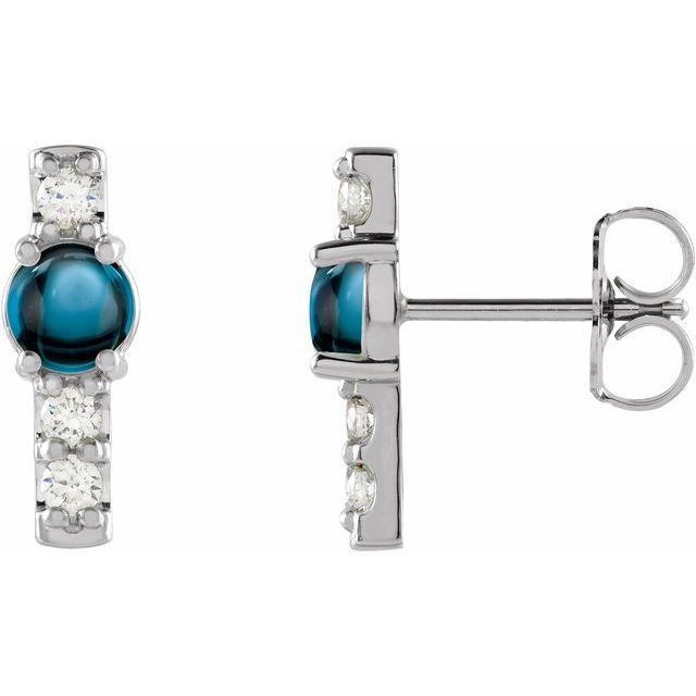 14K White London Blue Topaz & 1/5 CTW Diamond Bar Earrings