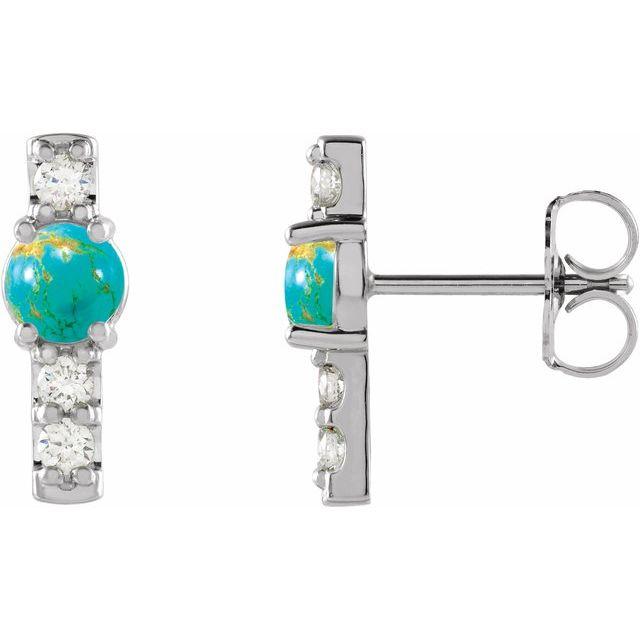 14K White Turquoise & 1/5 CTW Diamond Bar Earrings