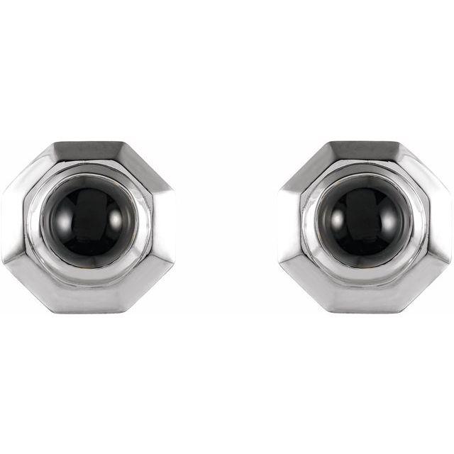 Sterling Silver Onyx Geometric Earrings