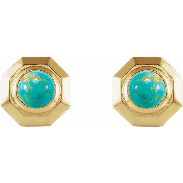 14K Yellow Turquoise Geometric Earrings