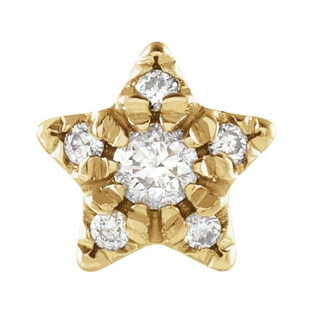 14K Yellow .05 CTW Diamond Star Single Earring