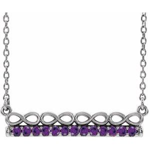 "14K White Amethyst Infinity-Inspired Bar 16"" Necklace"