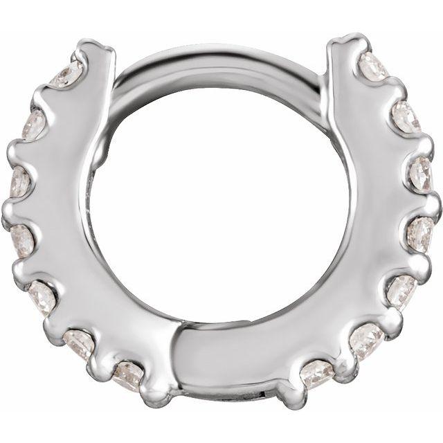 14K White 1/5 CTW Diamond 18 mm Huggie Earring
