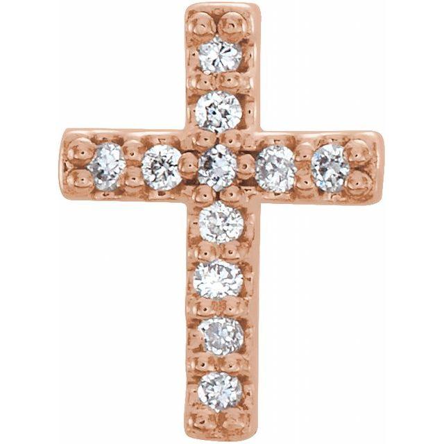 14K Rose 1/10 CTW Diamond Cross Earrings