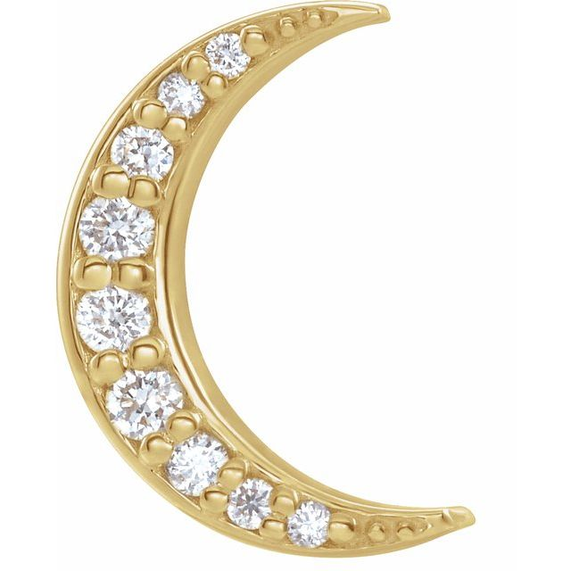14K Yellow .04 CTW Diamond Crescent Moon Single Earring