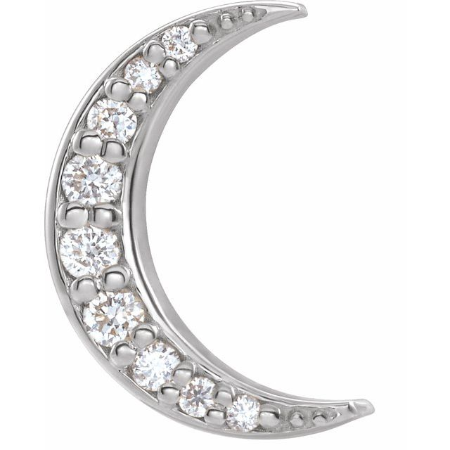 14K White .04 CTW Diamond Crescent Moon Single Earring