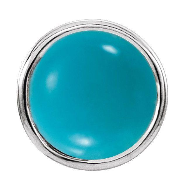 14K White Turquoise Bezel-Set Single Earring
