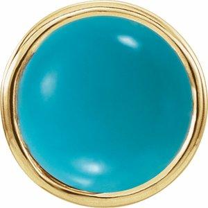 14K Yellow Turquoise Bezel-Set Single Earring