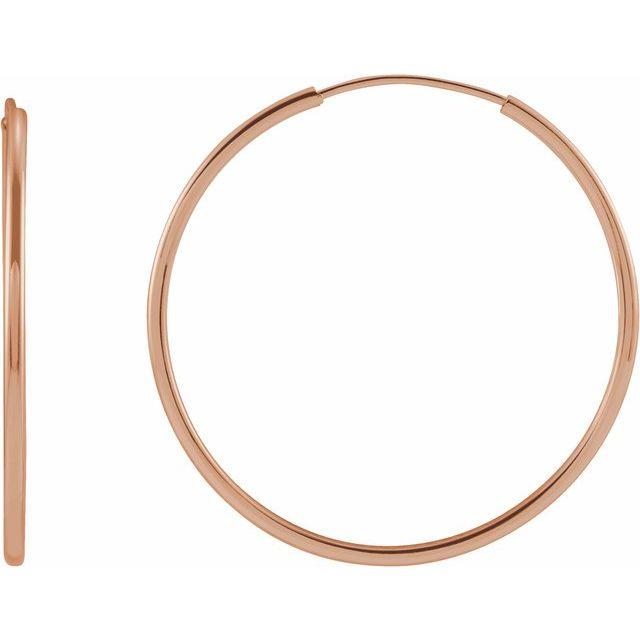 14K Rose 25 mm Flexible Endless Huggie Earrings