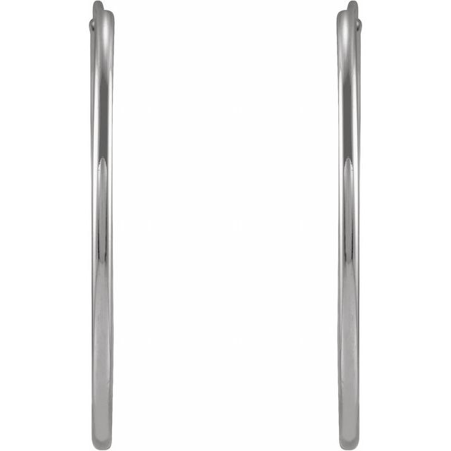 14K White 25 mm Flexible Endless Huggie Earrings