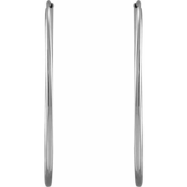 14K White 30 mm Flexible Endless Huggie Earrings