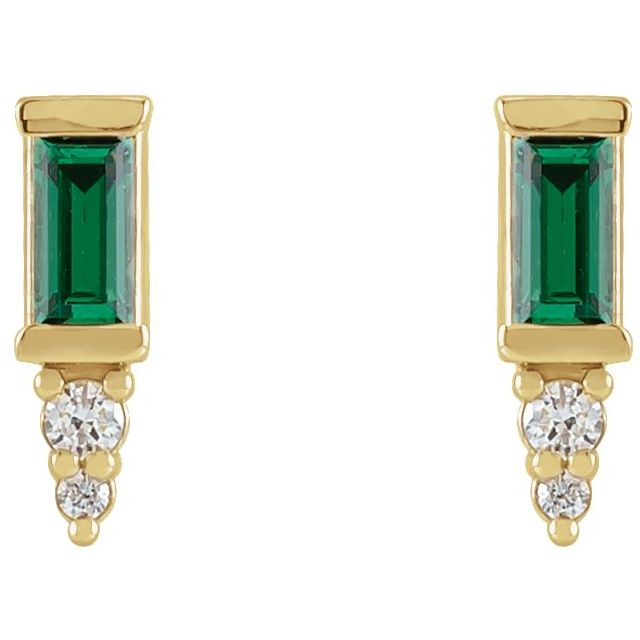 14K Yellow Green Tourmaline & .03 CTW Diamond Bar Earrings