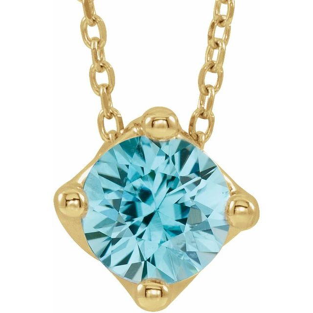 """14K Yellow 6 mm Round Natural Blue Zircon Solitaire 16-18"""" Necklace"""