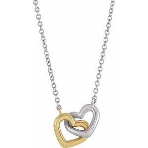 "14K Yellow/White Interlocking Heart 18"" Necklace"