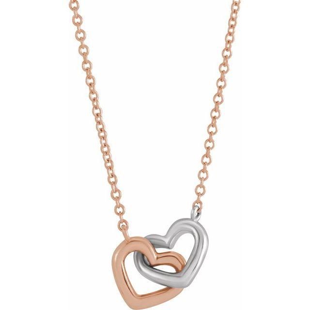 14K Rose/White Interlocking Heart 18