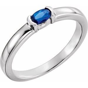 Sterling Silver Lab-Growm Blue Sapphire Oval Stackable Family Ring