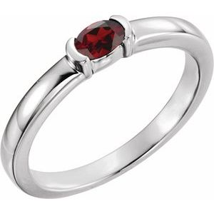 Sterling Silver Mozambique Garnet Oval Stackable Family Ring