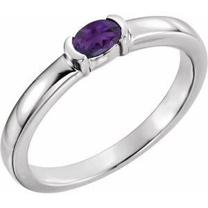 14K White Amethyst Oval Stackable Family Ring
