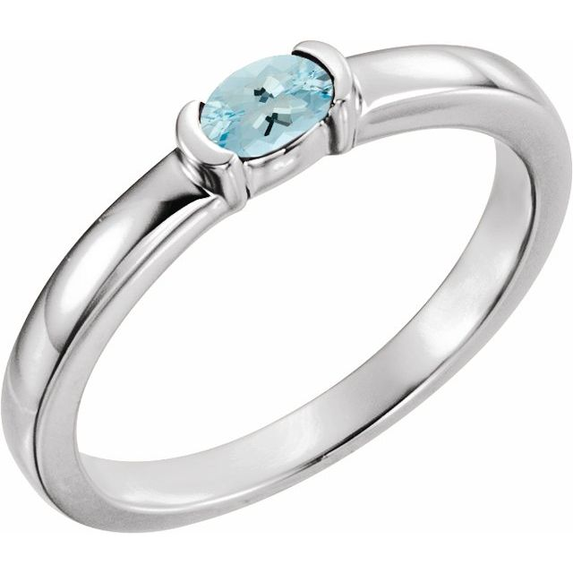 14K White Aquamarine Oval Stackable Family Ring