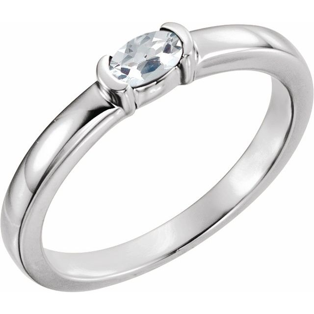 Sterling Silver Sapphire Oval Stackable Family Ring