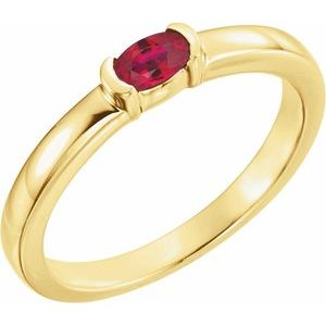 14K Yellow Ruby Oval Stackable Family Ring
