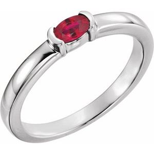 Sterling Silver Lab-Grown Ruby Oval Stackable Family Ring