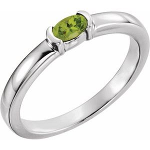 Sterling Silver Peridot Oval Stackable Family Ring