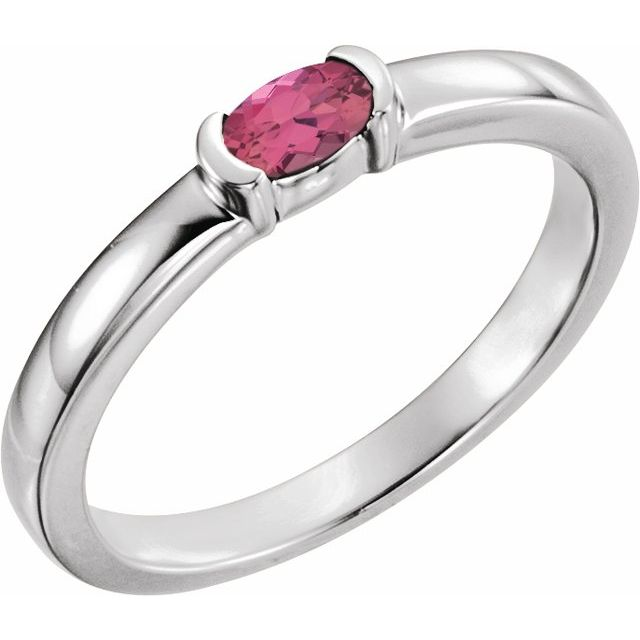 Sterling Silver Pink Tourmaline Oval Stackable Family Ring