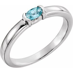 Sterling Silver Blue Zircon Oval Stackable Family Ring
