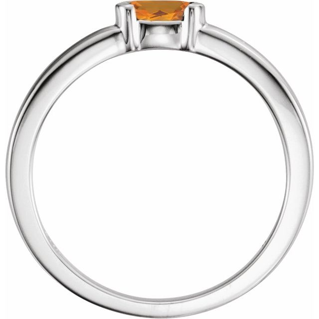 Sterling Silver Citrine Oval Stackable Family Ring